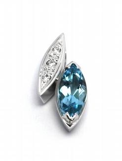 Diamantový zlatý přívěsek s brazilským akvamarínem 585/0,77 gr J-21416-12