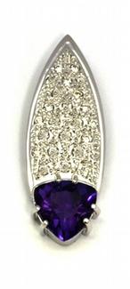 Diamantový zlatý přívěsek s fialovým ametystem 585/2,18 gr J-21289-12