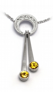 Diamantový zlatý přívěsek se žlutými safíry 585/3,47 gr J-21045-12