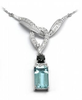 Diamantový náhrdelník s brazilským akvamarínem 585/4,92 gr J-20894-12