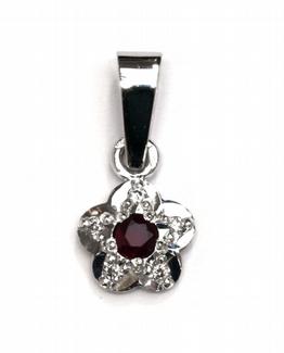 Diamantový zlatý přívěsek s rubínem a diamanty 585/0,62 gr J-20856-12