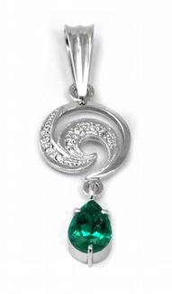 Diamantový zlatý přívěsek se smaragdem KOLUMBIE 585/1,75 gr J-20253-11