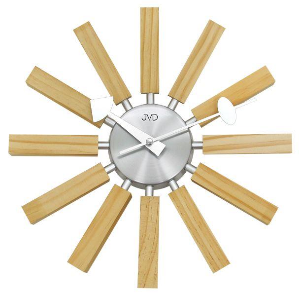 Paprskovité designové hodiny hodiny JVD quartz HT103.1 v kombinaci dřevo x kov
