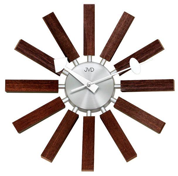Paprskovité designové hodiny hodiny JVD quartz HT103.2 v kombinaci dřevo x kov
