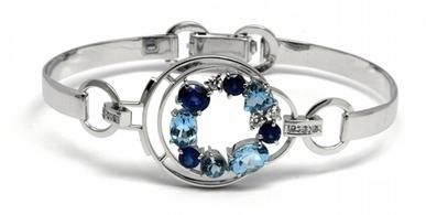 Luxusní diamantový náramek se safíry, akvamaríny a diamanty 585/15,76gr J-20274-
