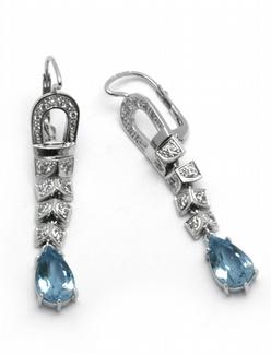 Luxusní diamantové náušnice s brazilskými akvamaríny 585/5,80 gr J-22536-13