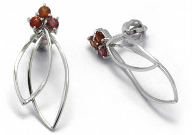 Luxusní diamantové náušnice s barevnými safíry 585/2,07 gr J-22567-13