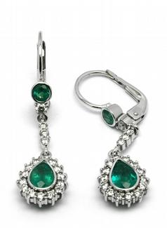 Zlaté náušnice s brazilskými zelenými smaragdy 585/4,04 gr J-22262-13