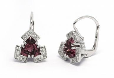 Zlaté náušnice s přírodními turmalíny a diamanty 585/3,87 gr J-21616-12
