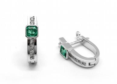 Zlaté náušnice s kolumbijskými smaragdy diamanty 585/2,55 gr J-21660-12