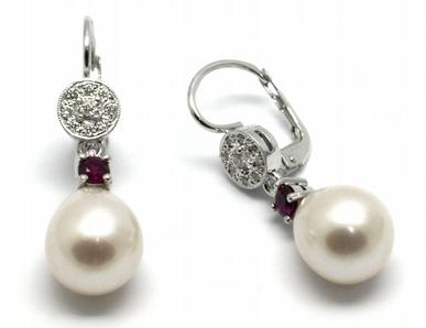 Zlaté náušnice s rubíny, perlami a diamanty 585/2,57 gr J-21121-12