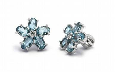 Diamantové náušnice s brazilskými akvamaríny 585/2,22 gr J-21137-12
