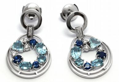 Diamantové náušnice se safíry, akvamaríny a diamanty 585/6,60 gr J-21360-12
