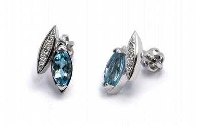 Diamantové náušnice s brazilskými akvamaríny a diamanty 585/2,31 gr J-21415-12