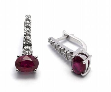 Diamantové náušnice s přírodními červenými rubíny 585/2,59 gr J-19014-12