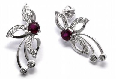 Diamantové náušnice s přírodními červenými rubíny 585/3,15 gr J-21046-12