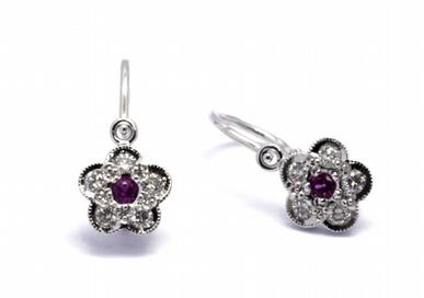 Diamantové náušnice s přírodními pravými rubíny 585/1,18 gr J-21171-12