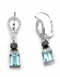 Diamantové náušnice s brazilskými akvamaríny 585/3,73 gr J-20893-12