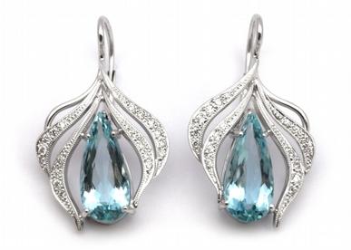 Diamantové náušnice s brazilskými akvamaríny 585/4,98 gr J-20798-12