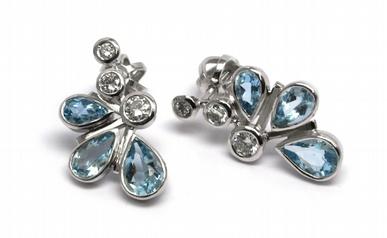 Diamantové náušnice s brazilskými akvamaríny a diamanty 585/2,39 gr J-18520-11