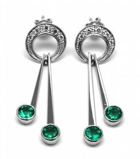 Diamantové náušnice se zelenými vzácnými smaragdy 585/3,44 gr J-20508-11
