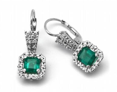 Luxusní náušnice s přírodními zelenými smaragdy 585/4,32 gr J-20281-11