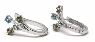 Luxusní náušnice s přírodními vzácnými akvamaríny a diamanty 585/3,40gr J-20351-