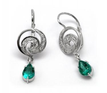 Luxusní náušnice se vzácnými kolumbijskými smaragdy 585/3,41 gr J-20252-11