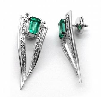 Luxusní náušnice se vzácnými zelenými smaragdy 585/5,54 gr J-20220-11