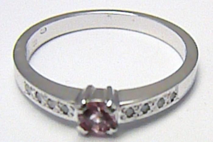 Diamantový prsten se vzácným růžovým safírem 585/2,69 gr vel. 55 SKLADEM!! D007 (J-24578-14)