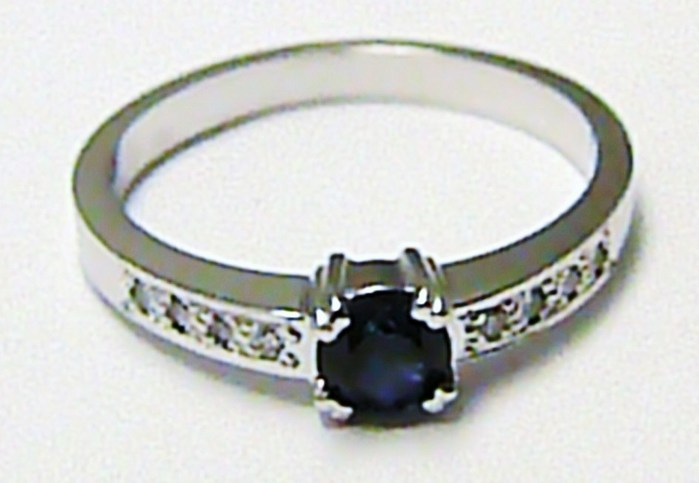 Diamantový zásnubní prsten s modrým safírem 585/2,45 gr D008 (J-24579-14)