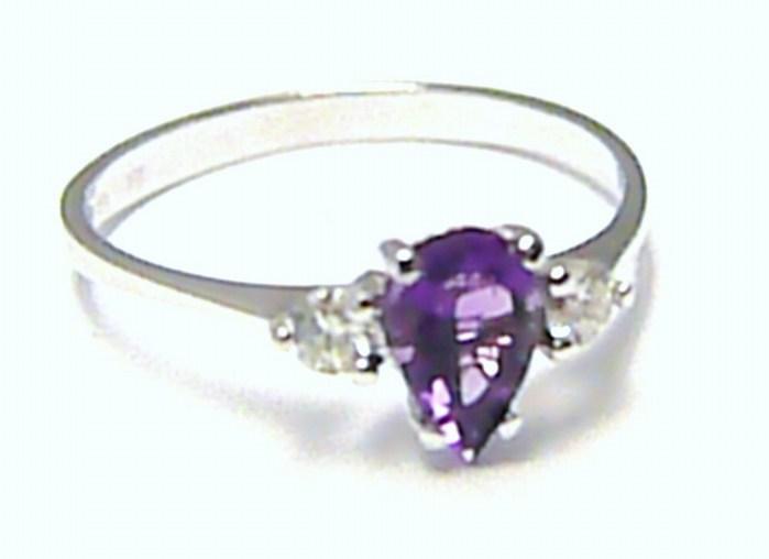 Zásnubní luxusní prsten s přírodním ametystem 585/1,13g vel.50 SKLADEM!! D009 (J-24572-14)
