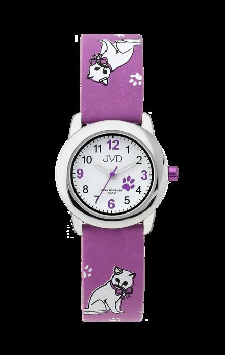 Dětské dívčí hodinky JVD J7153.1 s kočičími motivy a kočkami