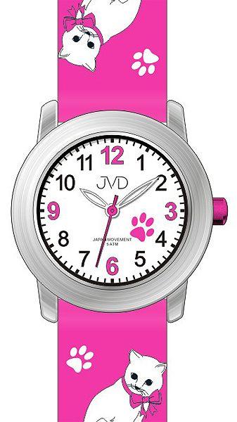 Dětské dívčí hodinky JVD J7153.2 s kočičími motivy a kočkami