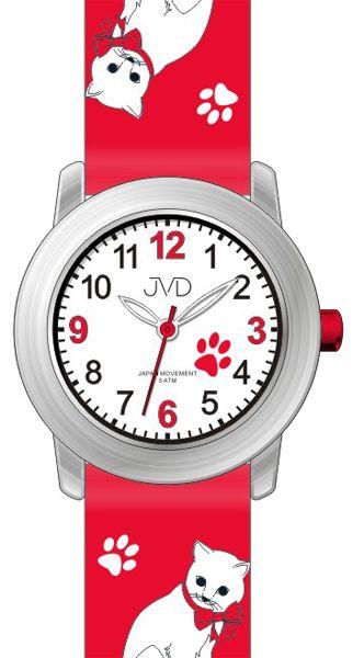 Dětské dívčí hodinky JVD J7153.3 s kočičími motivy a kočkami