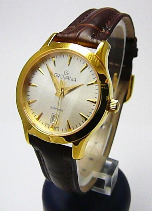 Dámské švýcarské zlacené hodinky Grovana 3201.1512 se safírovým sklem