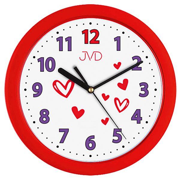 Červené dětské nástěnné hodiny JVD H12.2 se srdíčkama pro dívky