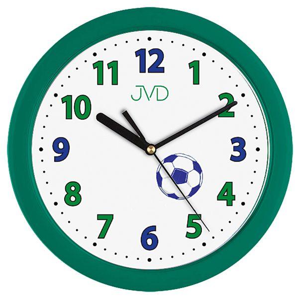 Fotbalové zelené dětské nástěnné hodiny JVD H12.3 pro malé fotbalisty