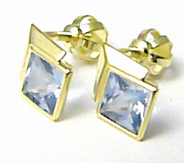 Dámské zlaté pecičky s modrými akvamaríny na šroubek 585/1,15gr 236040918