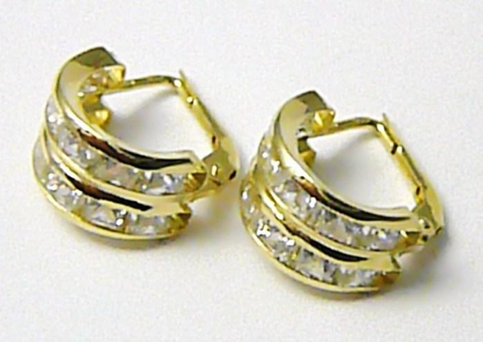 Mohutné zlaté velké kruhy - náušnice poseté zirkony 585/3,03gr 236041159
