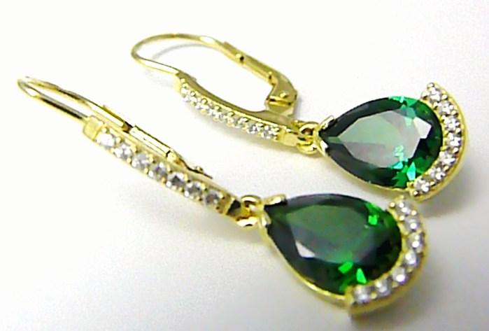 Luxusní mohutné visací náušnice se zelenými smaragdy a zirkony 585/4,87gr Z077