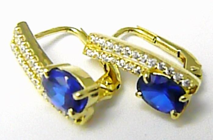 Luxusní dámské zlaté náušnice se zirkony a modrými safíry 585/2,78gr Z078