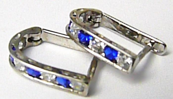 Dámské náušnice z bílého zlata s modrými safíry půlkroužky 585/1,27 gr P396