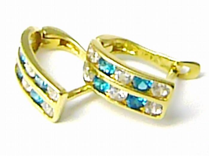 Dámské náušnice - dvojité čtvrtkroužky s modrými topazy 585/1,35 gr P398