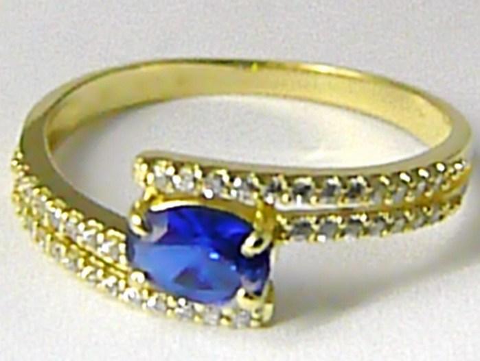 Mohutný zásnubní luxusní prsten s modrým safírem,zirkony vel. 59 588/2,85gr Z083 (226041083)