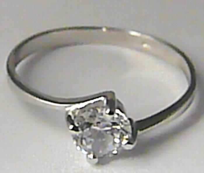 Zásnubní prsten z bílého zlata s velkým zirkonem 585/1,32gr vel. 52 323041297 (323041297)