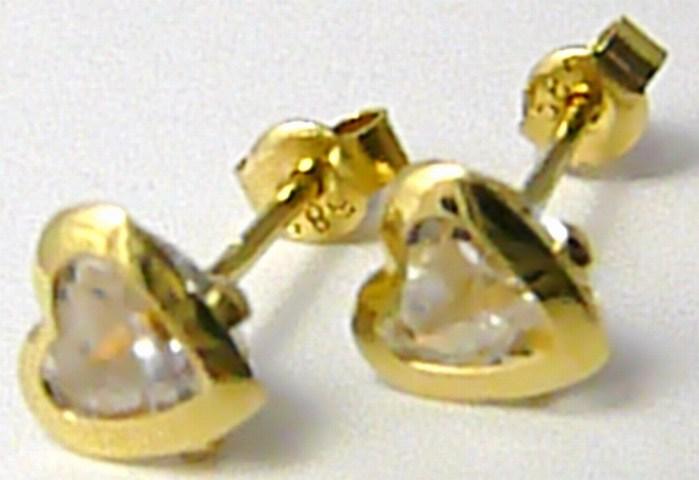 Zlaté srdíčkové náušnice - zlaté pecičky se zirkonem SRDCE 585/1,22 gr P426 (2130073)