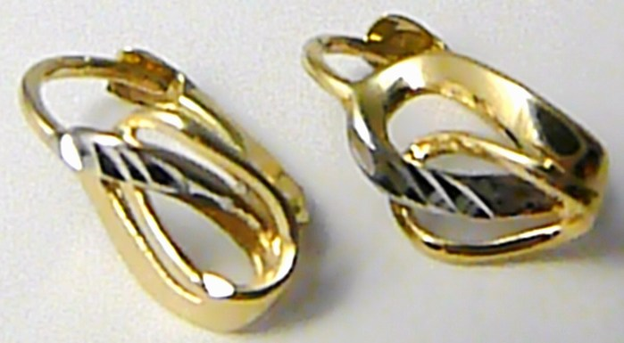 Dámské zlaté náušnice v kombinaci zlata klasické zapínání 585 1 1bc37324dc8