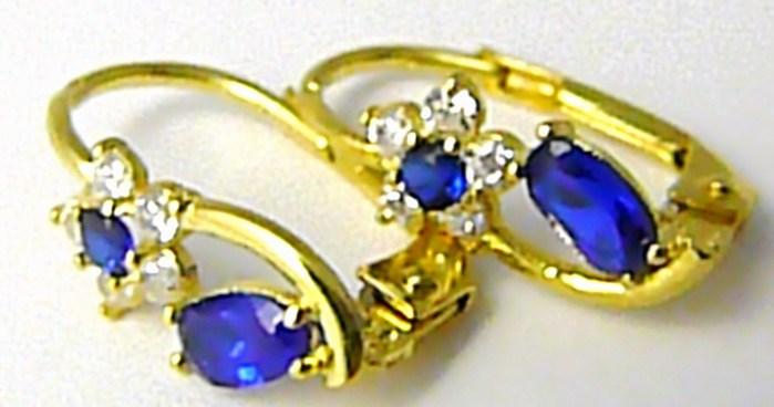 Luxusní dámské zlaté náušnice s modrými safíry a zirkony 585/1,75 gr P431