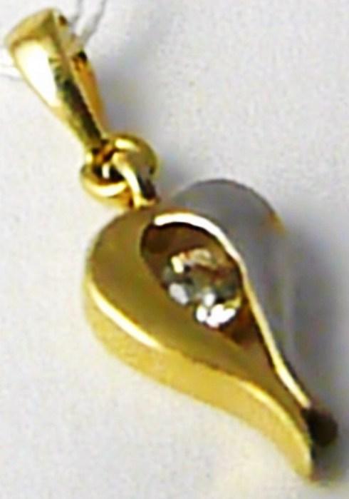 Dámský zlatý přívěsek se zirkonem z bílého a žlutého zlata 585/0,66 gr H451